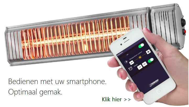Amber Smart terrasverwarmer te bedienen met smartphone