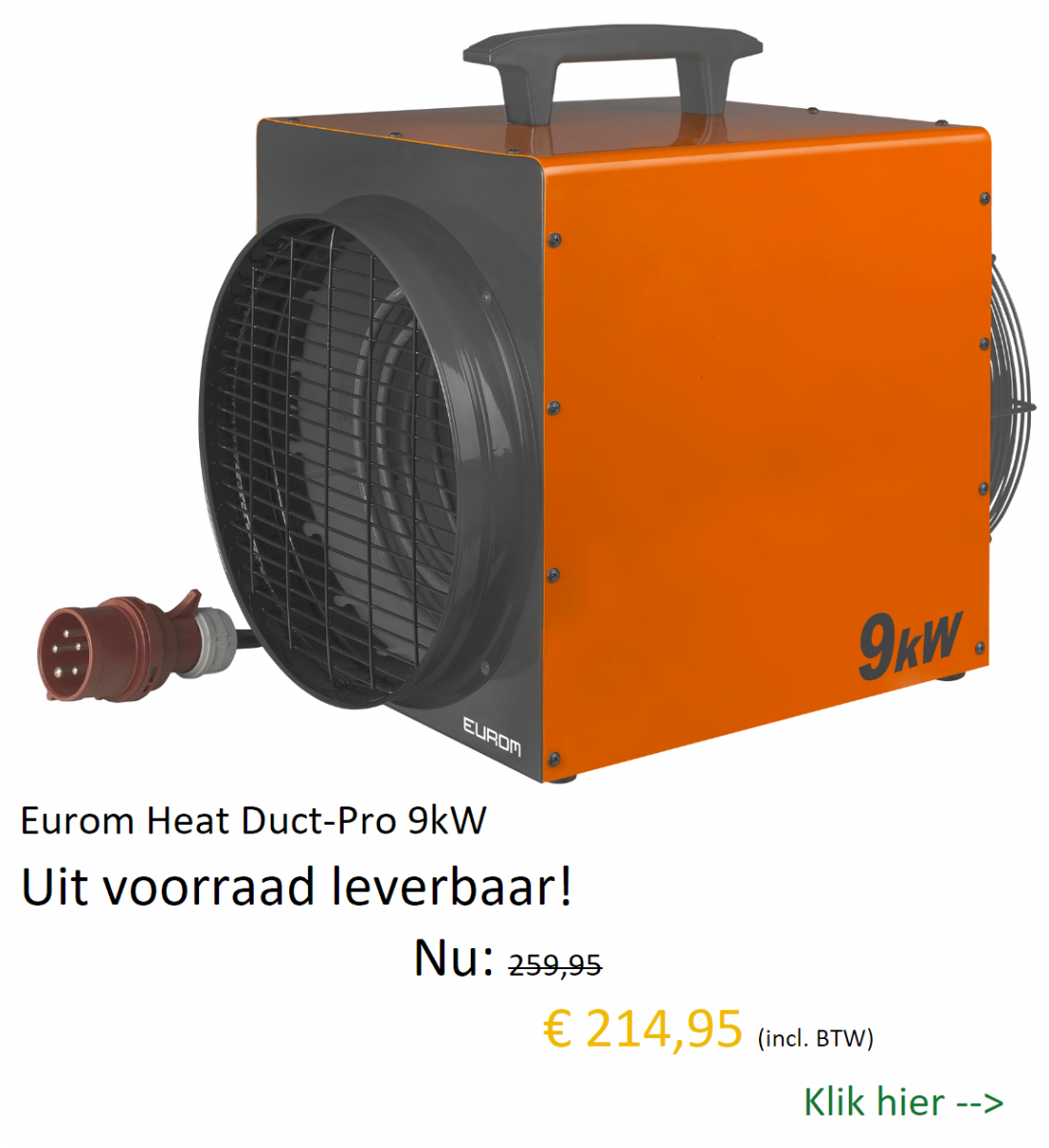 Eurom Heat Duct-Pro 9kW uit voorraad leverbaar bij Wijmarbouwmachines!